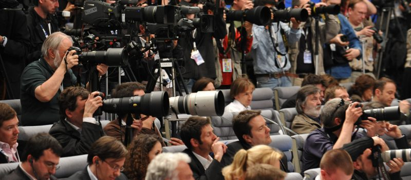 Journalists attending the press conference